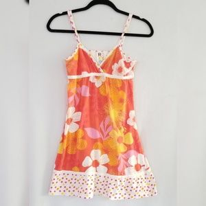 Roxy Dresses - Roxy Floral Orange Pink Spaghetti Strap Dress